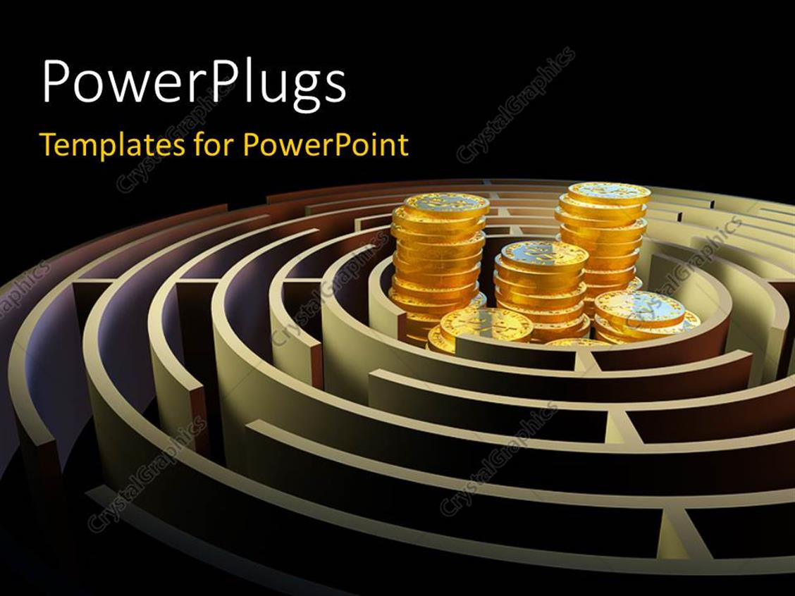 PowerPoint Template Displaying a Number of Coins Inside a Maze with Blackish Background