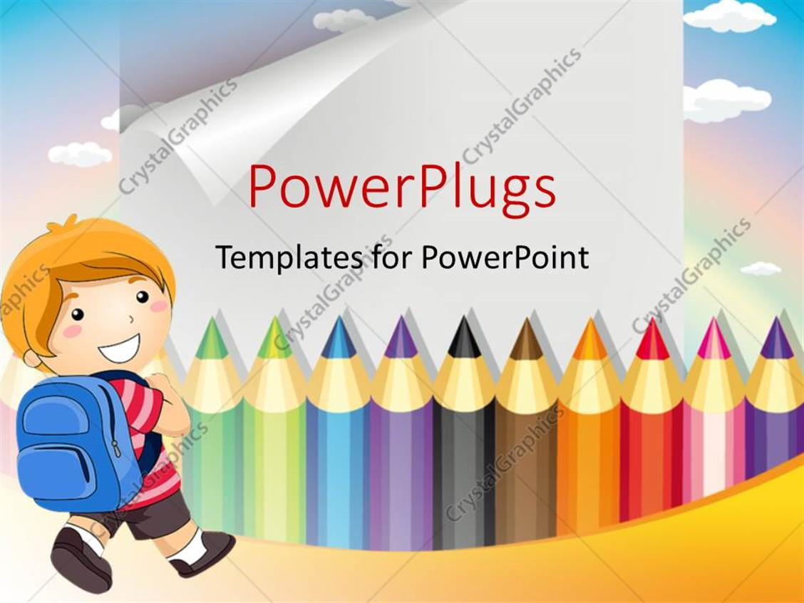 PowerPoint Template Displaying a Number of Color Pencils with Along with a Kid