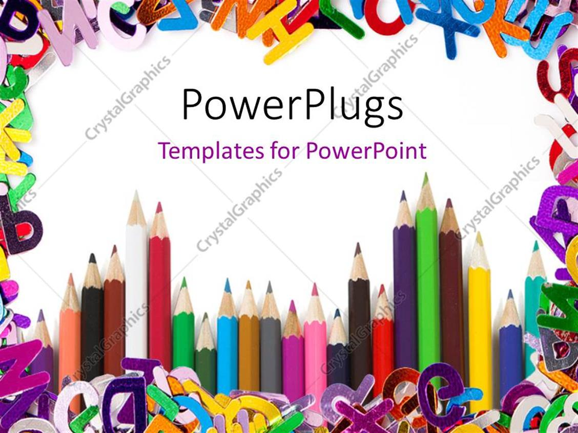 PowerPoint Template Displaying a Number of Color Pencils with Alphabets in the Background