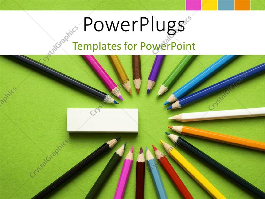 PowerPoint Template Displaying a Number of Color Pencils in a Circle