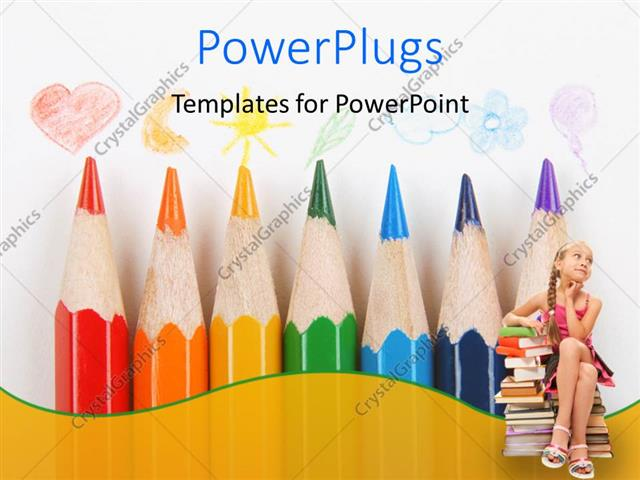 PowerPoint Template Displaying a Number of Color Pencils with a Kid