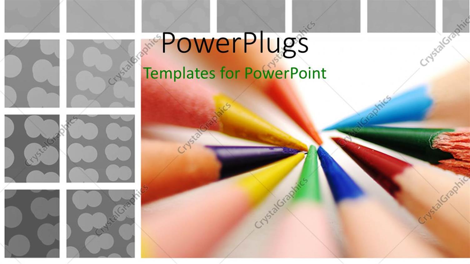 PowerPoint Template Displaying a Number of Color Pencils Together with White Background