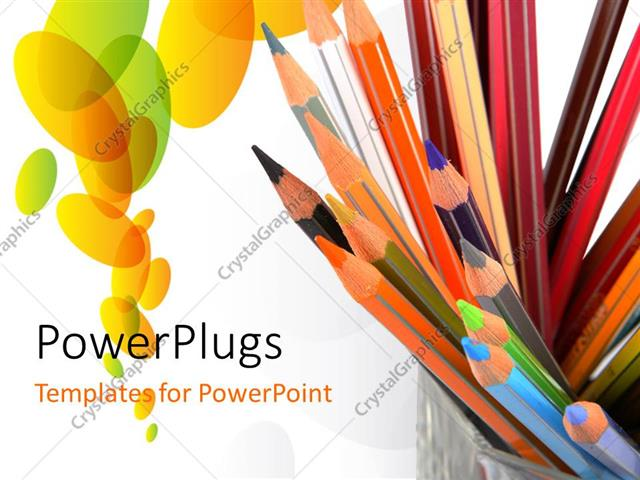 PowerPoint Template Displaying a Number of Color Pencils with White Background