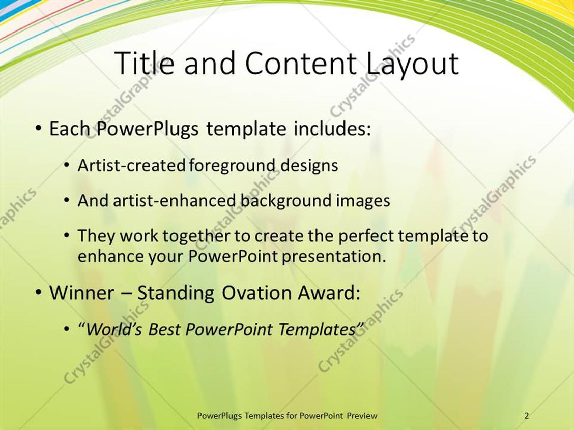 PowerPoint Template: a number of color pencils with white background ...