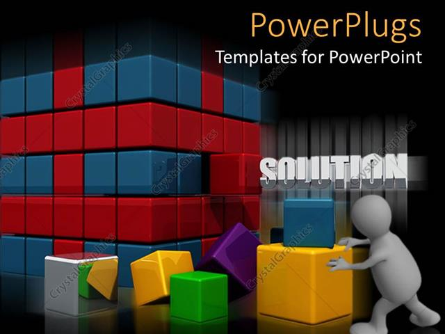 PowerPoint Template Displaying a Number of Colorful Boxes with a Blackish Background