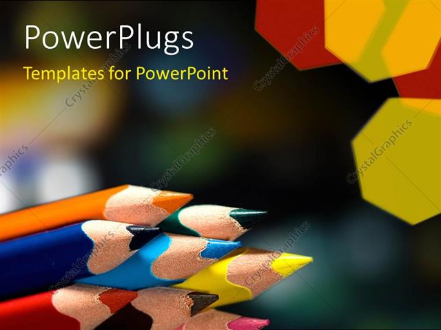 PowerPoint Template Displaying a Number of Colorful Pencils with Blurred Background
