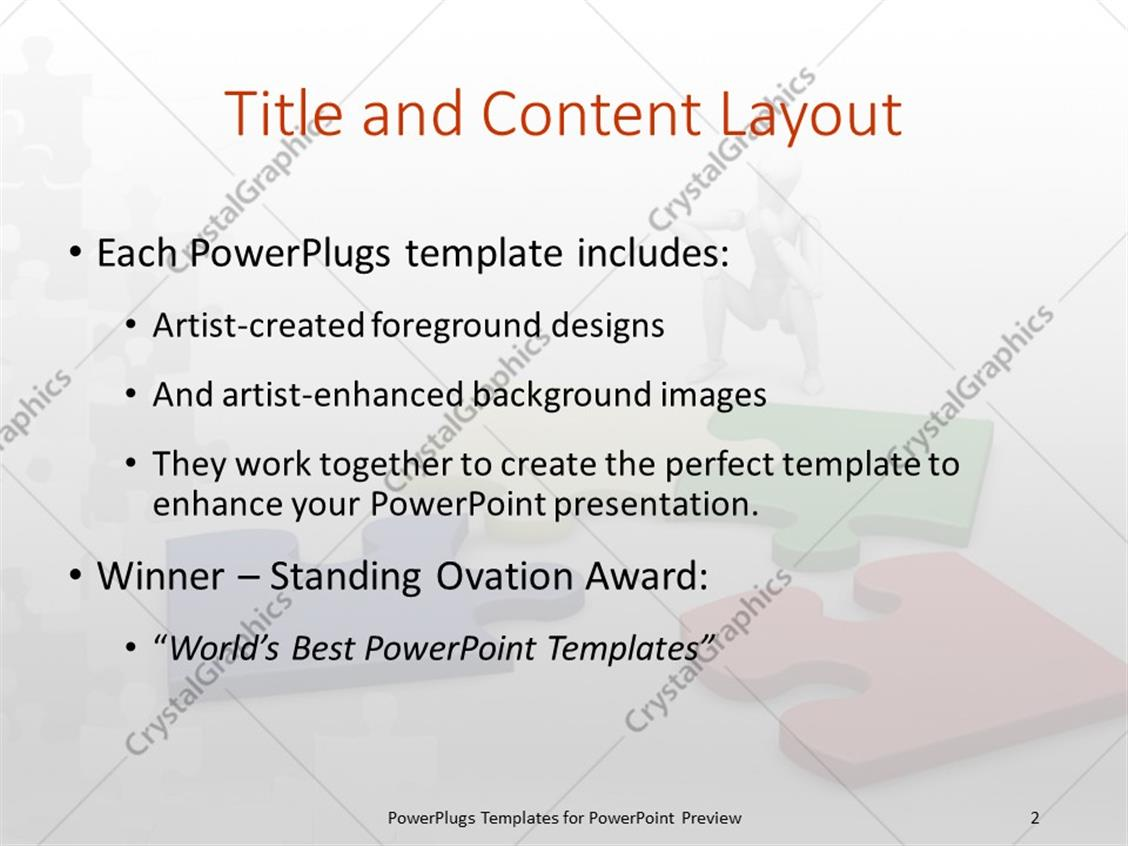 PowerPoint Template: a number of colorful puzzle pieces with white ...