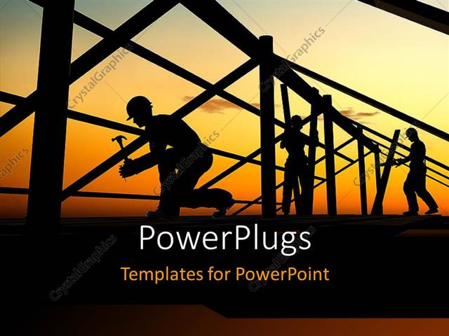 Powerpoint Template A Number Of Construction Workers Building A