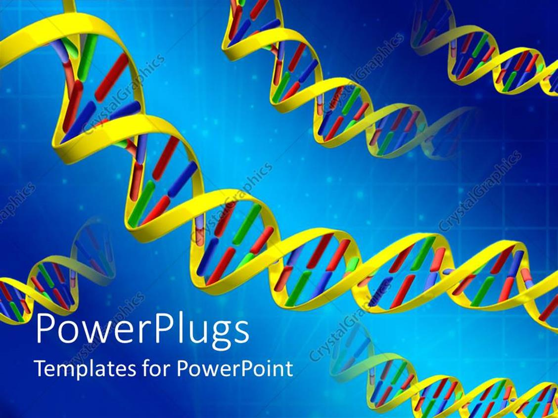 PowerPoint Template Displaying a Number of DNA Structures Together with Bluish Background