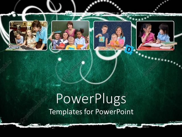 PowerPoint Template Displaying a Number of Family Pictures with Greenish Background