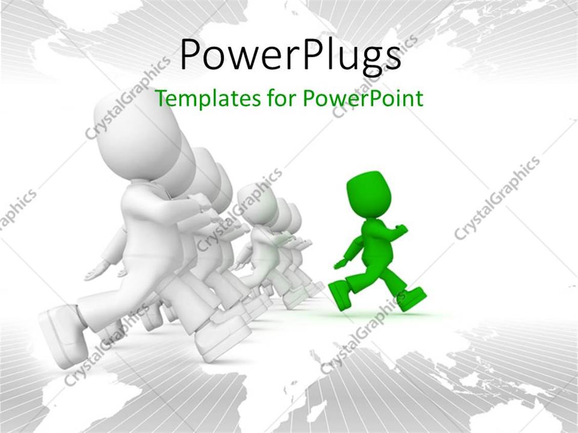 PowerPoint Template Displaying a Number of Figures Being Lead by One Figure