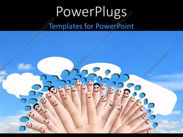 PowerPoint Template Displaying a Number of Fingers with Smileys