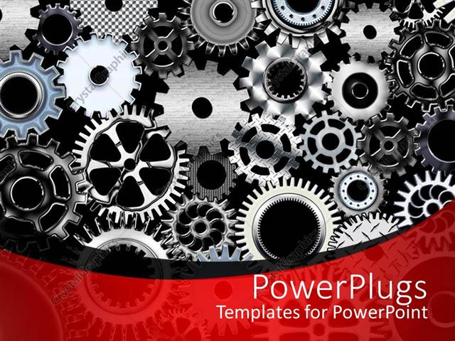 Powerpoint Template A Number Of Gears With Place For Text 13374