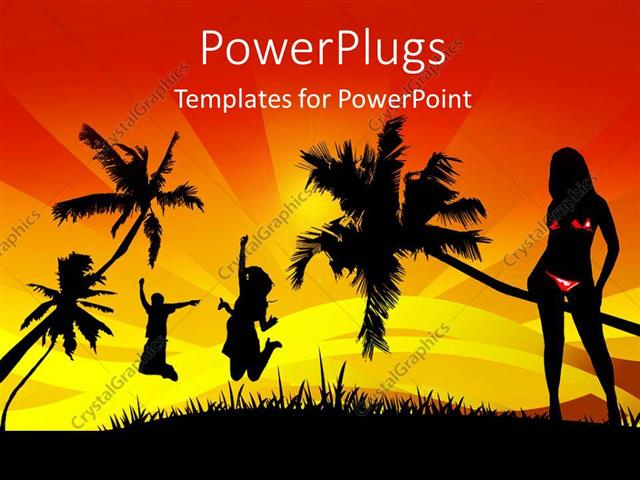 powerpoint template a number of girls happy in the jungle 3065