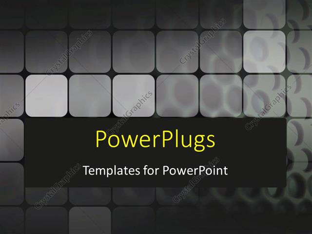PowerPoint Template Displaying a Number of Grey Boxes with Black Background