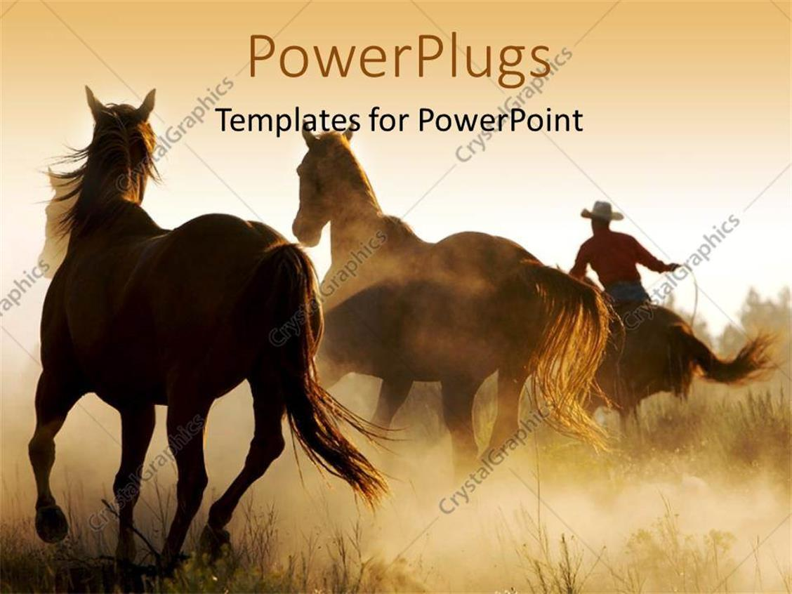 Powerpoint Template A Number Of Horses In The Wild 16537