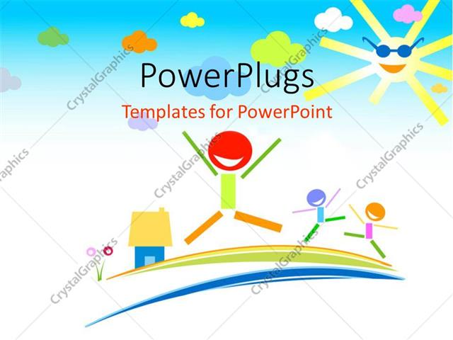 PowerPoint Template: a number of kids playing and being happy (15739)