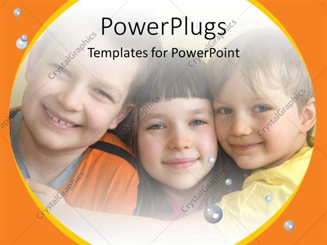 PowerPoint Template Displaying a Number of Kids Together with Bubbles in the Background