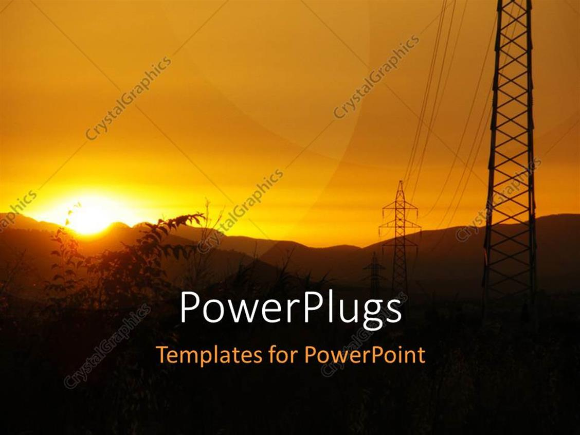 PowerPoint Template Displaying a Number of Mountains and Sunshine in the Background