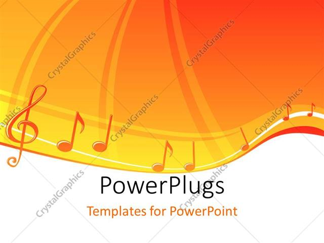 Powerpoint Template A Number Of Musical Signs With Orange