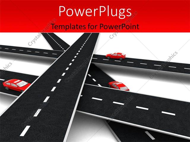 PowerPoint Template Displaying A Number Of Overhead Roads With Cars