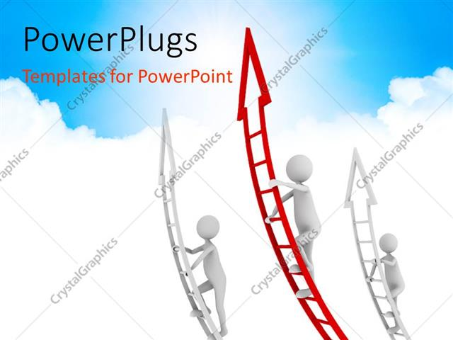 PowerPoint Template Displaying a Number of People Climbing the Arrows with Sky i the Background