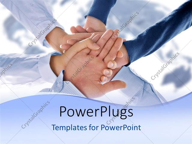 PowerPoint Template Displaying a Number of People Holding One Hand with Map in the Background