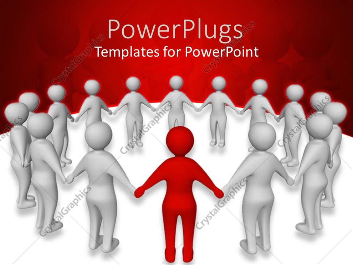 PowerPoint Template Displaying a Number of People Standing in a Circle