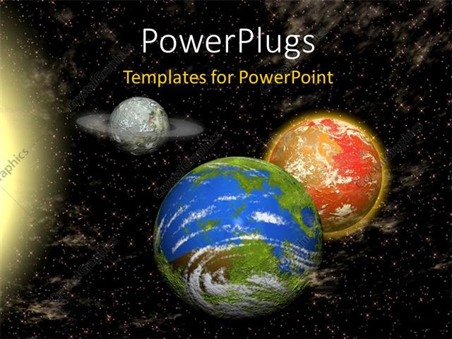 PowerPoint Template Displaying a Number of Planets with Stars in the Background