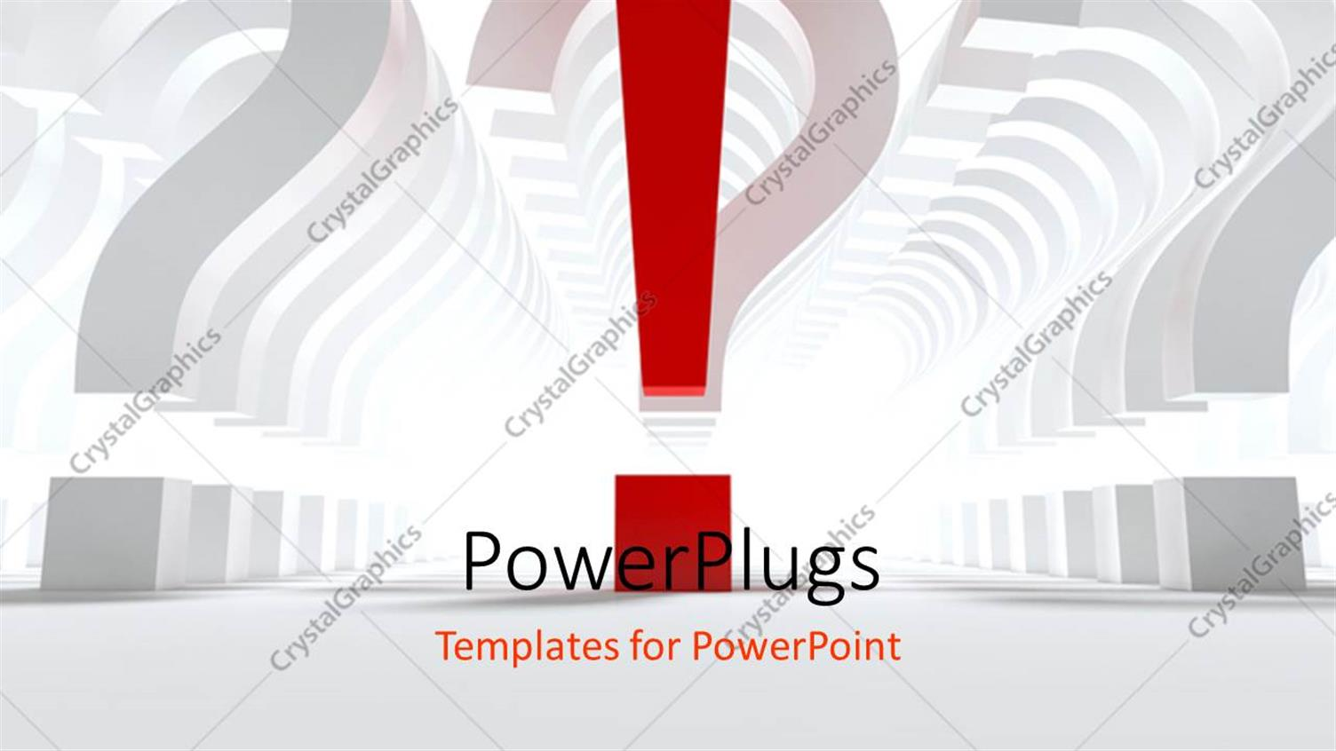 PowerPoint Template Displaying Number of Question Sign with Single Red Exclamation Sign Against White Color