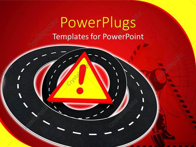 Powerpoint Template A Number Roads With A Warning Symbol 25396
