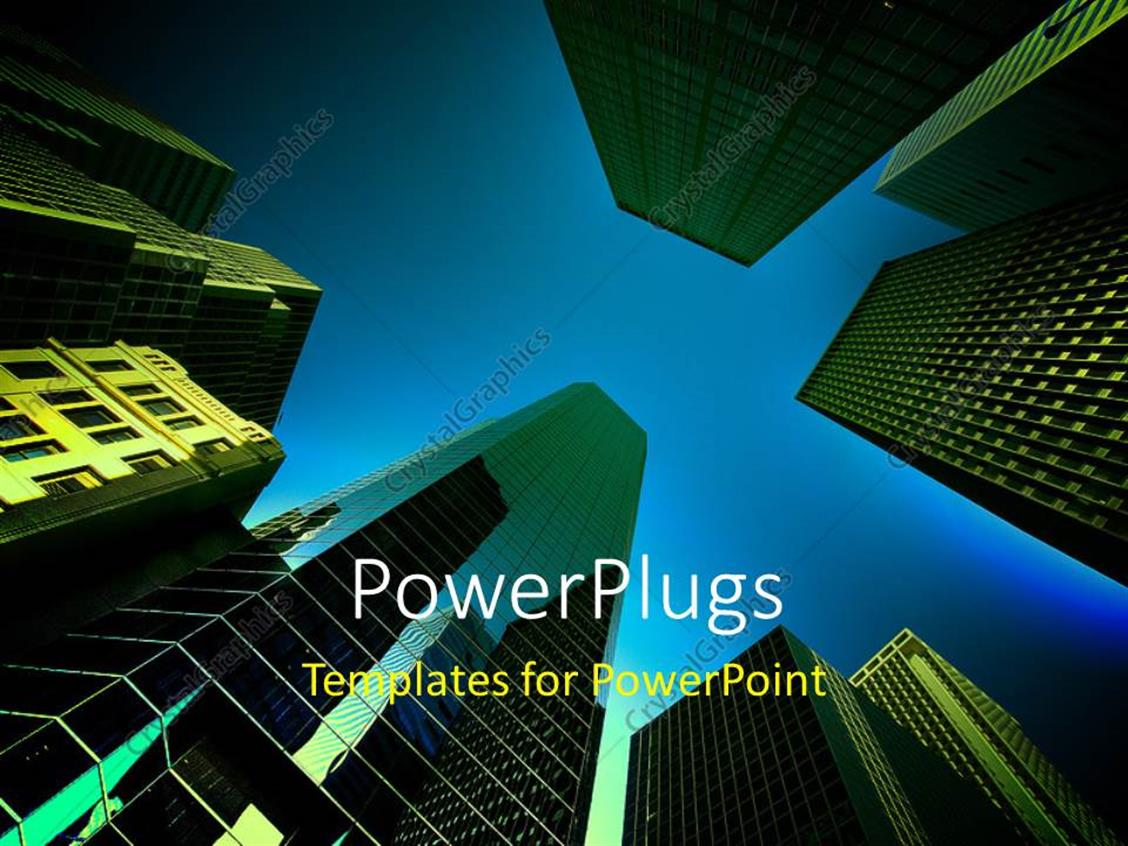 PowerPoint Template Displaying a Number of Sky Scrappers with Bluish Background and Place for Text