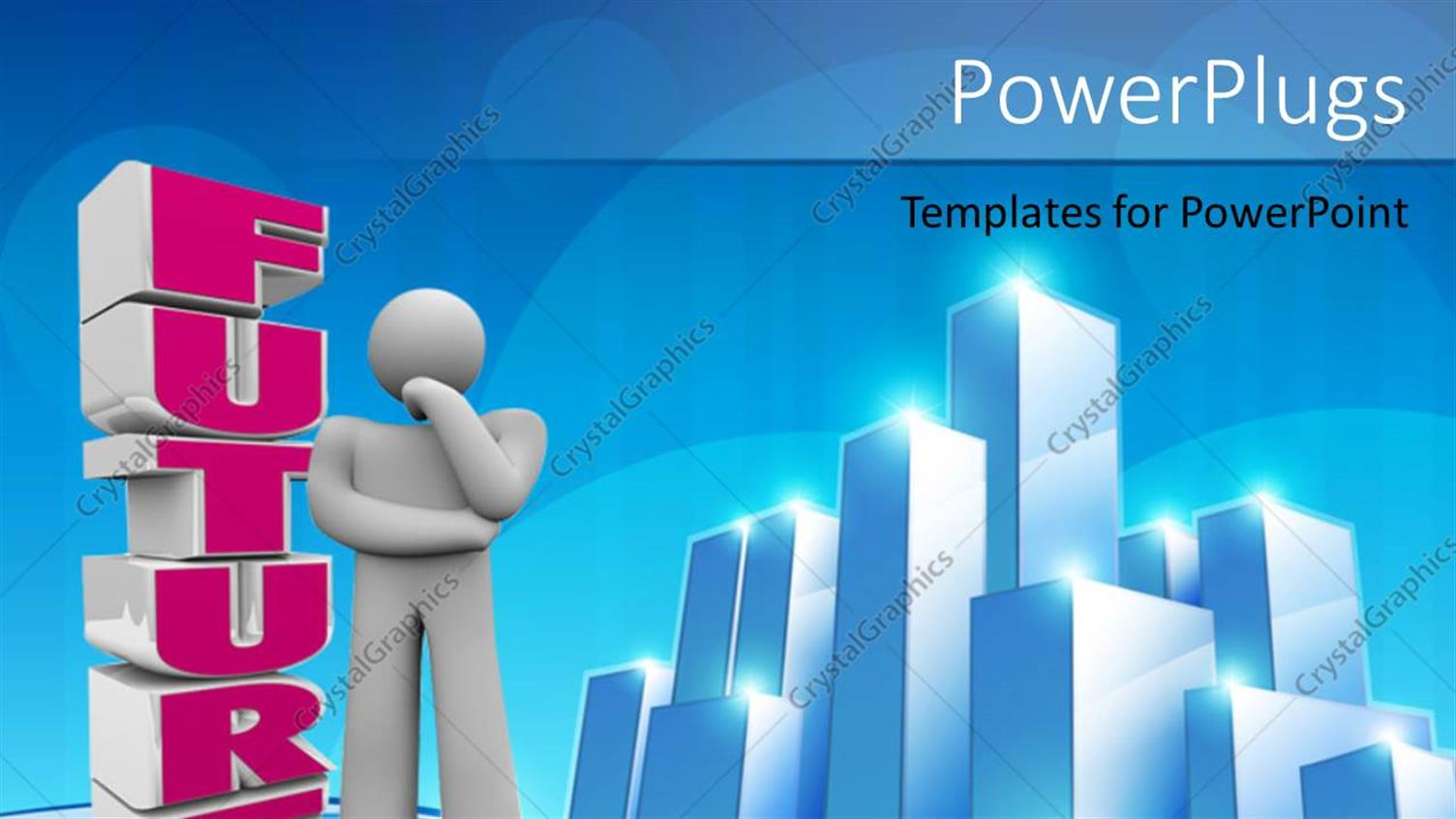 PowerPoint Template Displaying a Number of Skyscrapers with Bluish Background