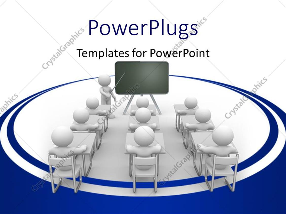 PowerPoint Template Displaying a Number of Students in the Classroom with White Background
