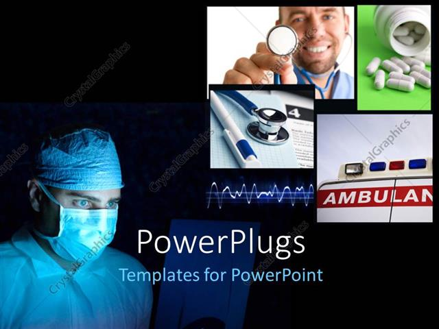 PowerPoint Template Displaying a Number of Surgeons with Blackish Background