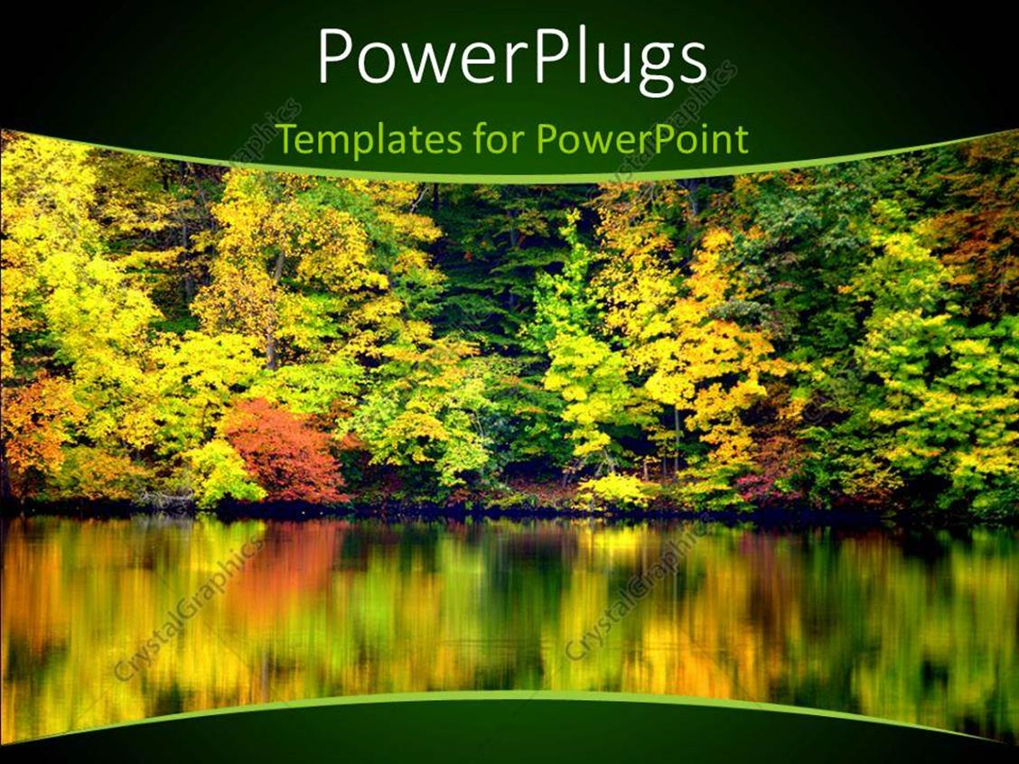 PowerPoint Template Displaying a Number of Trees with a Lake