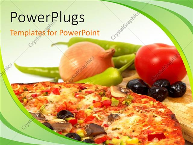 Powerpoint Template A Number Of Vegtables And A Pizza 17727