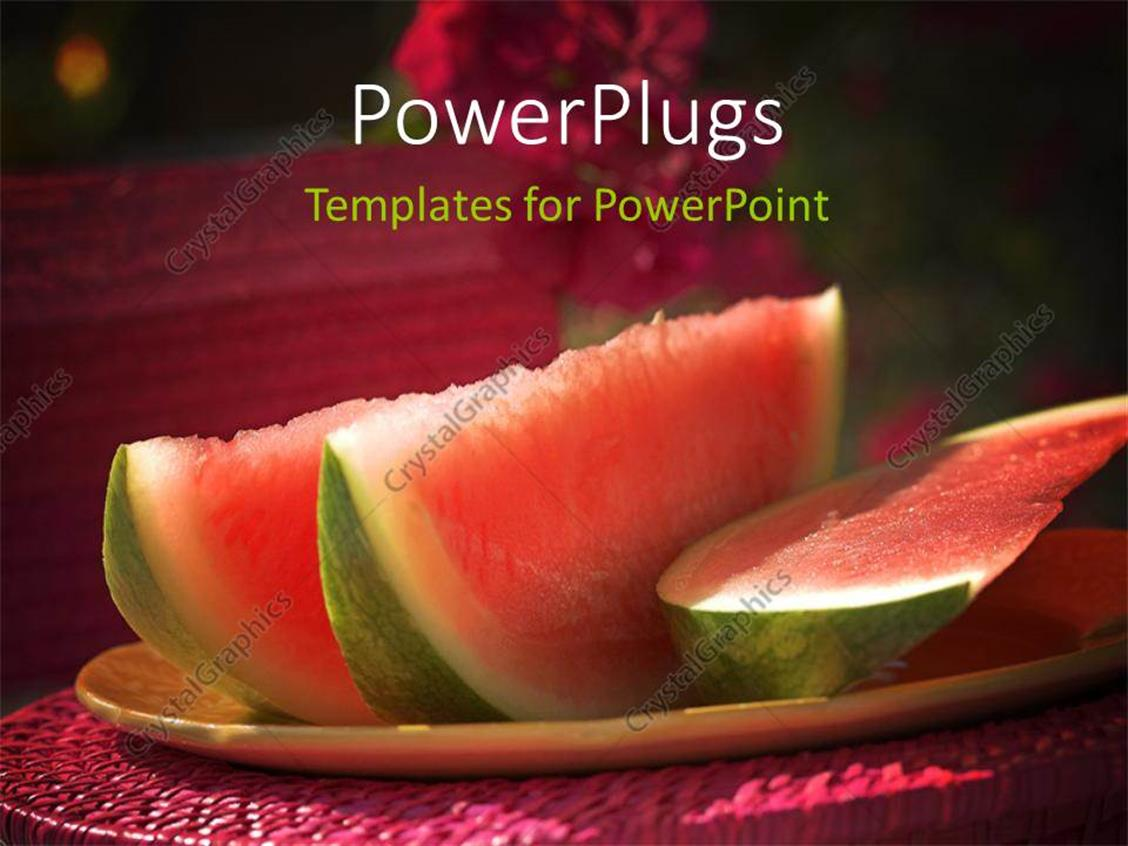 PowerPoint Template Displaying a Number of Water Melon Pieces and Blackish Background