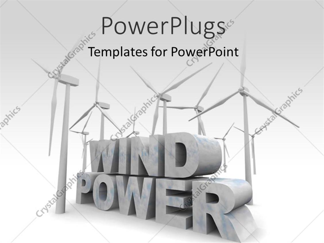 PowerPoint Template: a number of windmills and the words windpower ...