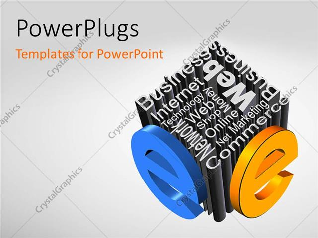 Powerpoint Template A Number Of Words Creating A Dice Shape With
