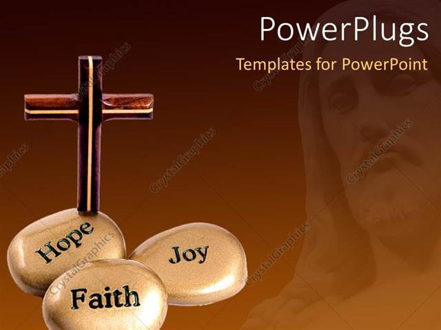PowerPoint Template Displaying a Number of Zen Stones and a Holy Cross
