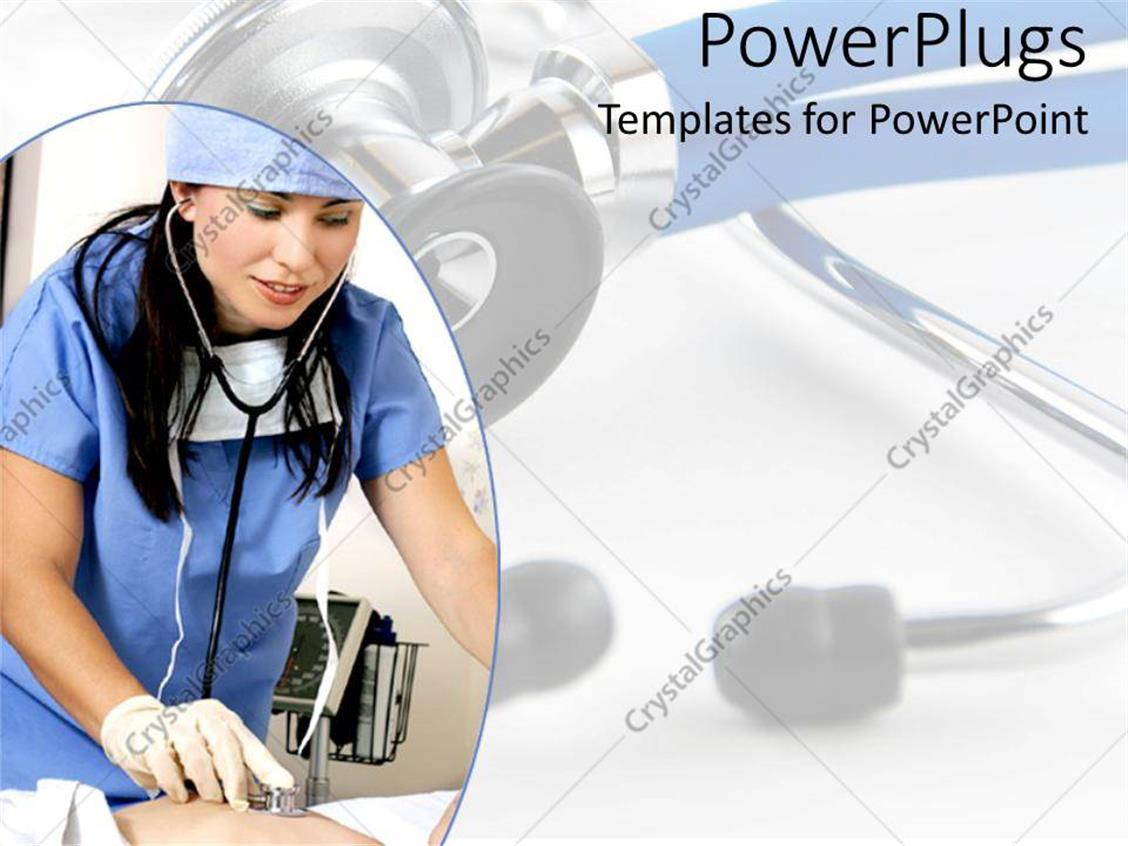 Powerpoint template nurse hospital worker with stethoscope and powerpoint template displaying nurse hospital worker with stethoscope and scrubs cares for patient alramifo Gallery