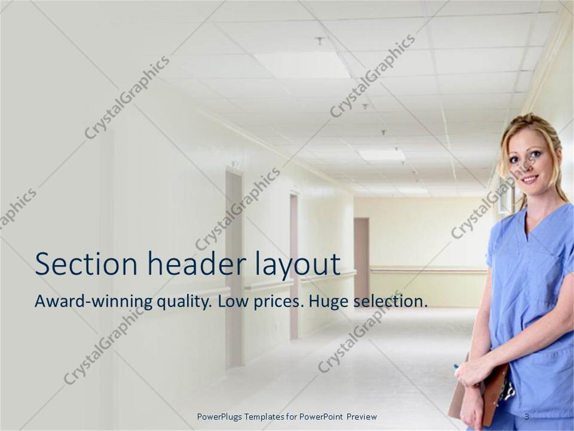 Wonderful nurse powerpoint template images professional resume powerpoint template a nurse standing in a hospital corridoor alramifo Gallery