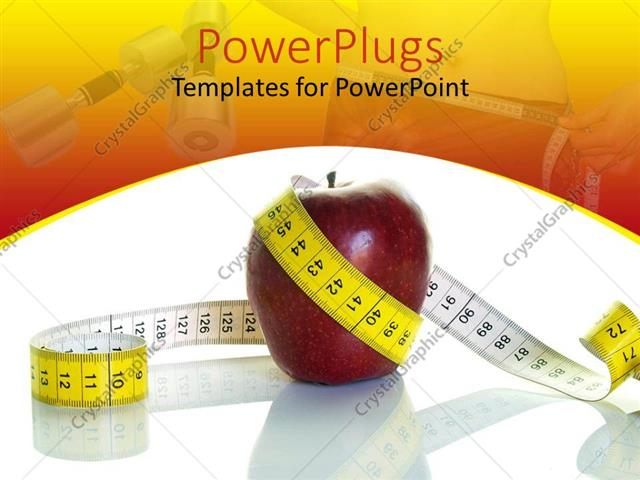 Powerpoint template nutrition and diet theme with red apple powerpoint template displaying nutrition and diet theme with red apple surrounded by white and yellow toneelgroepblik Images