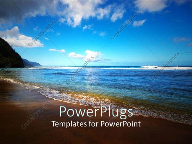 Powerpoint Template Ocean With Rays Of Sunset Falling On It With