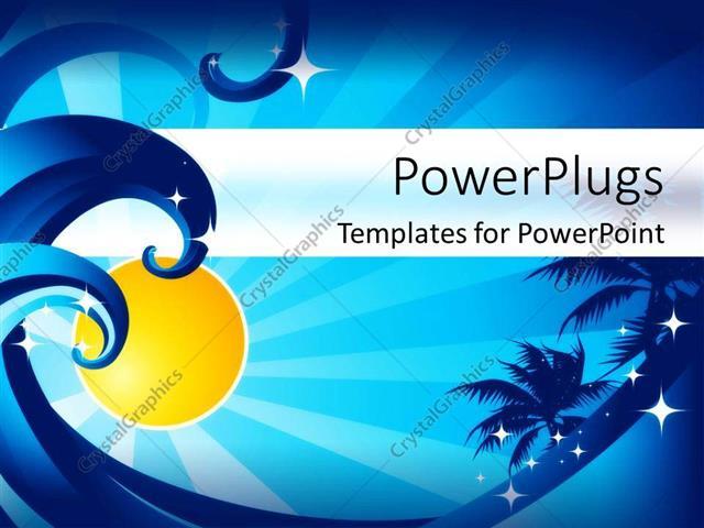 powerpoint template ocean waves palm trees sunshine stars blue
