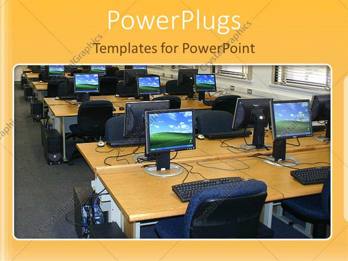 Powerpoint Template Office With Desks Chairs And Desktop