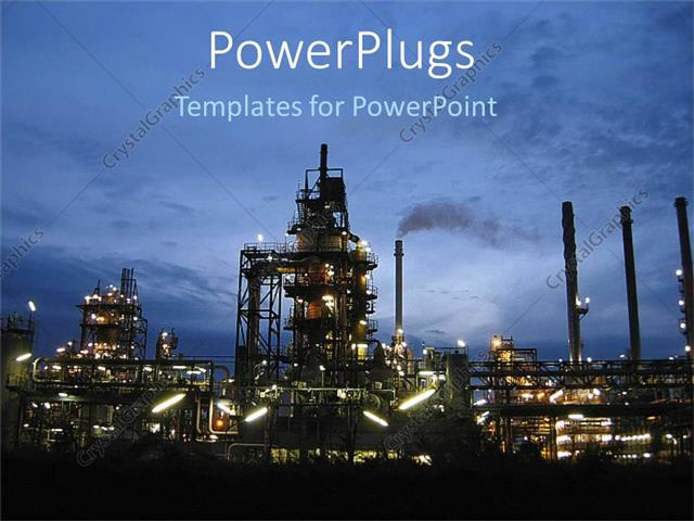 Powerpoint template oil plant at night oil industry depiction in powerpoint template displaying oil plant at night oil industry depiction in night scenery toneelgroepblik Image collections