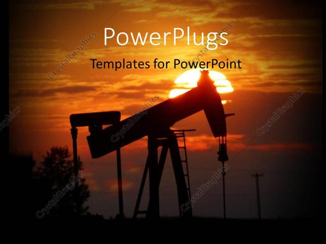 Powerpoint template oil pump jack is silhouetted by setting sun and powerpoint template displaying oil pump jack is silhouetted by setting sun and trees in background toneelgroepblik Gallery