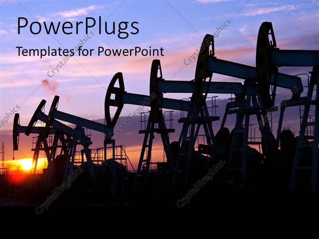 Powerpoint template oil pumps on the sunset sky background 22442 powerpoint template displaying oil pumps on the sunset sky background toneelgroepblik Gallery